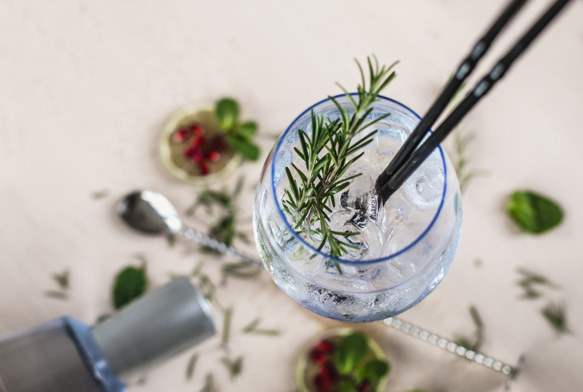 Gin Soda with a Rosemary